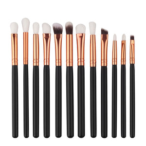 12Pcs Professional Eyes Makeup Brushes Set Wood Handle Eyeshadow Eyeliner Blending Brush Powder Face Cosmetic Make Up maquillaje