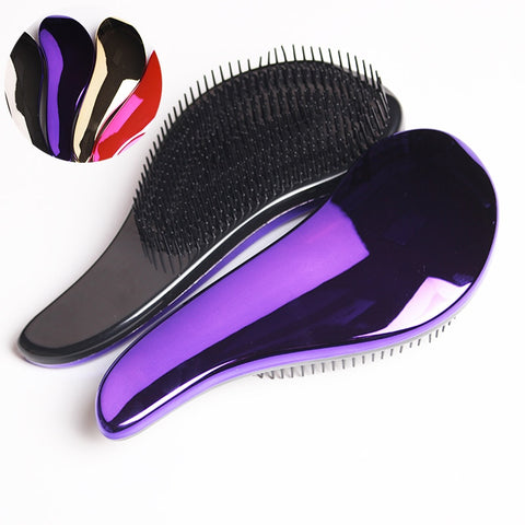 1pc Magic Anti-static Hair Brush Handle Tangle Detangling Comb Shower Electroplate Massage Comb Salon Hair Styling Tool Wholesal
