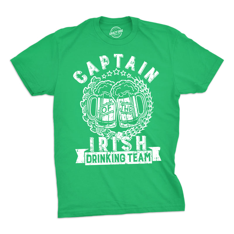 Mens Captain Of The Irish Drinking Team Tshirt Funny St Patricks Day Tee For Guys