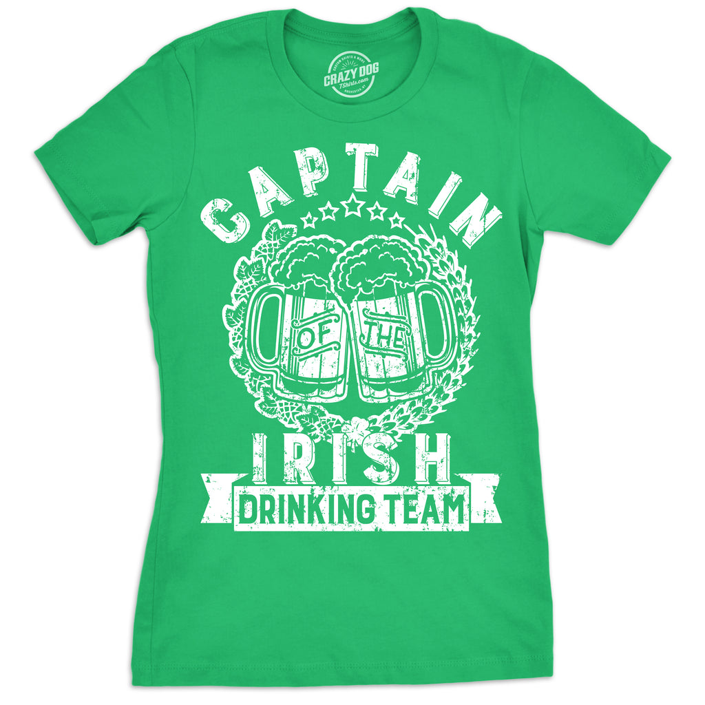 Womens Captain Of The Irish Drinking Team Tshirt Funny St Patricks Day Tee For Ladies