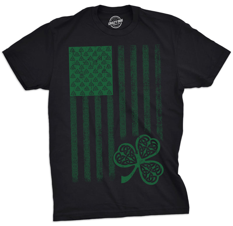 Mens Celtic USA Flag Tshirt Cool Patriotic St. Patricks Day Tee For Guys