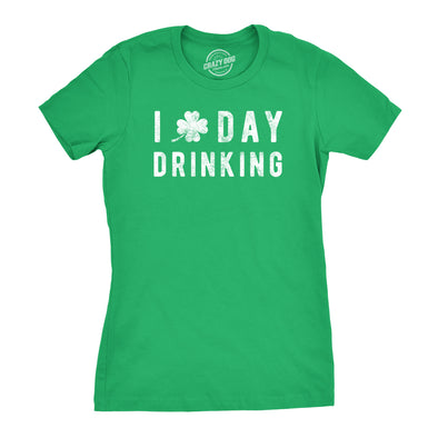 Womens I Clover Day Drinking Tshirt Funny St Patricks Day Shamrock Tee
