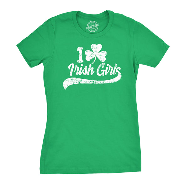 Womens I Clover Irish Girls Tshirt Funny St Patricks Day Parade Tee