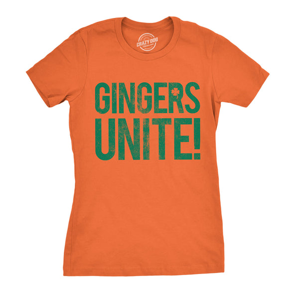 Womens Gingers Unite! Tshirt Funny St Patricks Day Tee