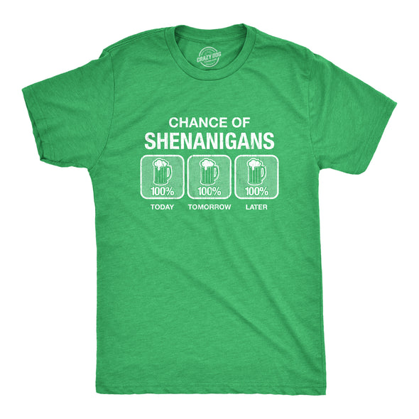 Mens 100% Chance Of Shenanigans Tshirt Funny St Patricks Day Drinking Tee