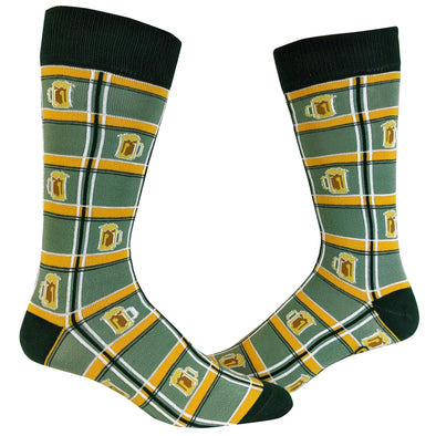 Irish Plaid Beer Socks Funny St Patricks Day Irish Parade Drinking Novelty