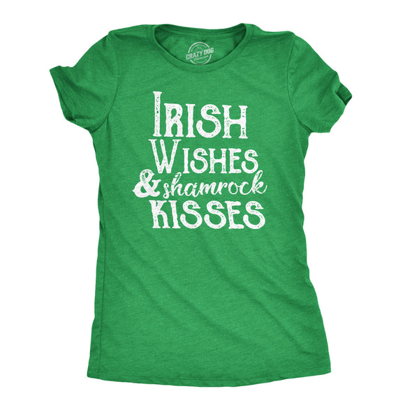 Irish Wishes And Shamrock Kisses Women's Tshirt