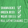 Mens Saint Patricks Day Checklist T Shirt Funny Shamrock Green Beer Leprechaun