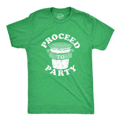 Mens Proceed To Party T Shirt Funny Saint Patricks Day Drinking St Patty Tee