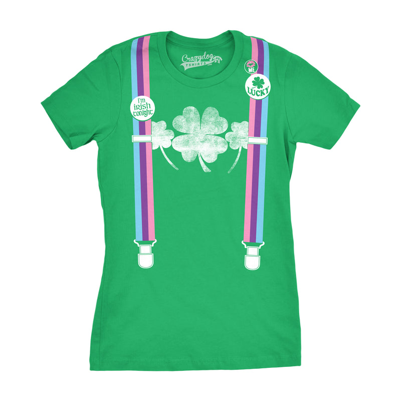 Womens Rainbow Suspenders Funny Shamrock Irish St. Patrick's Day T shirt