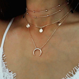 layered moon necklace
