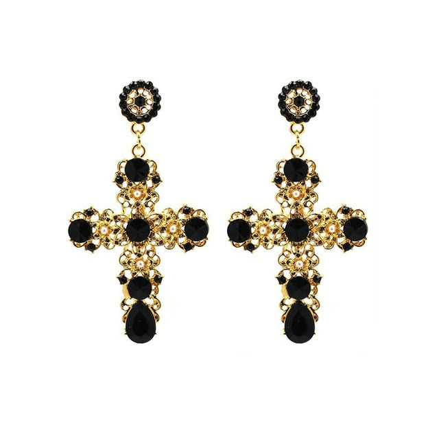 Baroque golden cross earrings