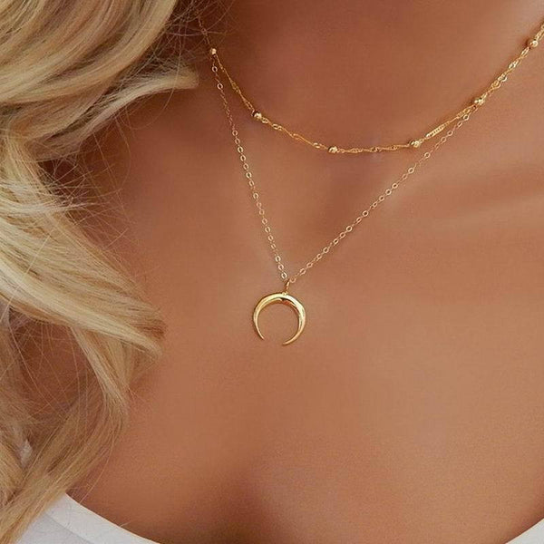 Cute  Multilayer moon necklace