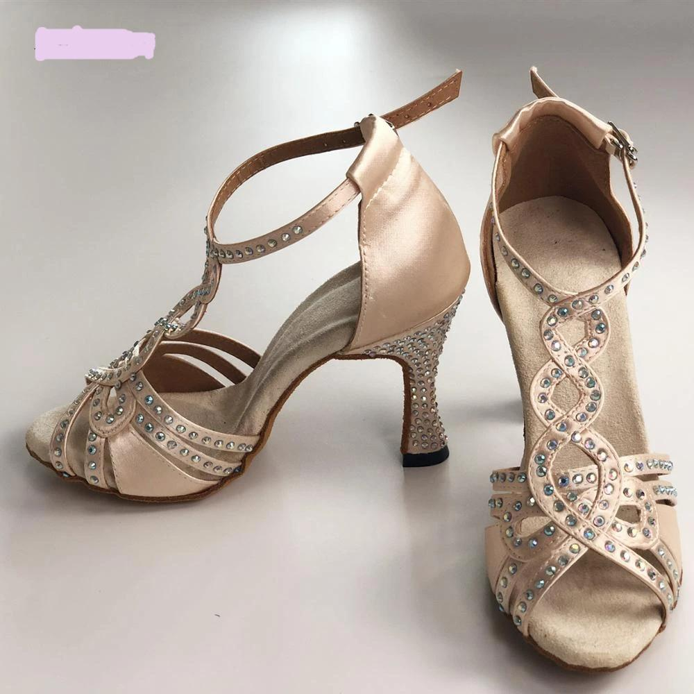 Women Party Ballroom Latin Shining Rhinestones Satin Dance Shoes