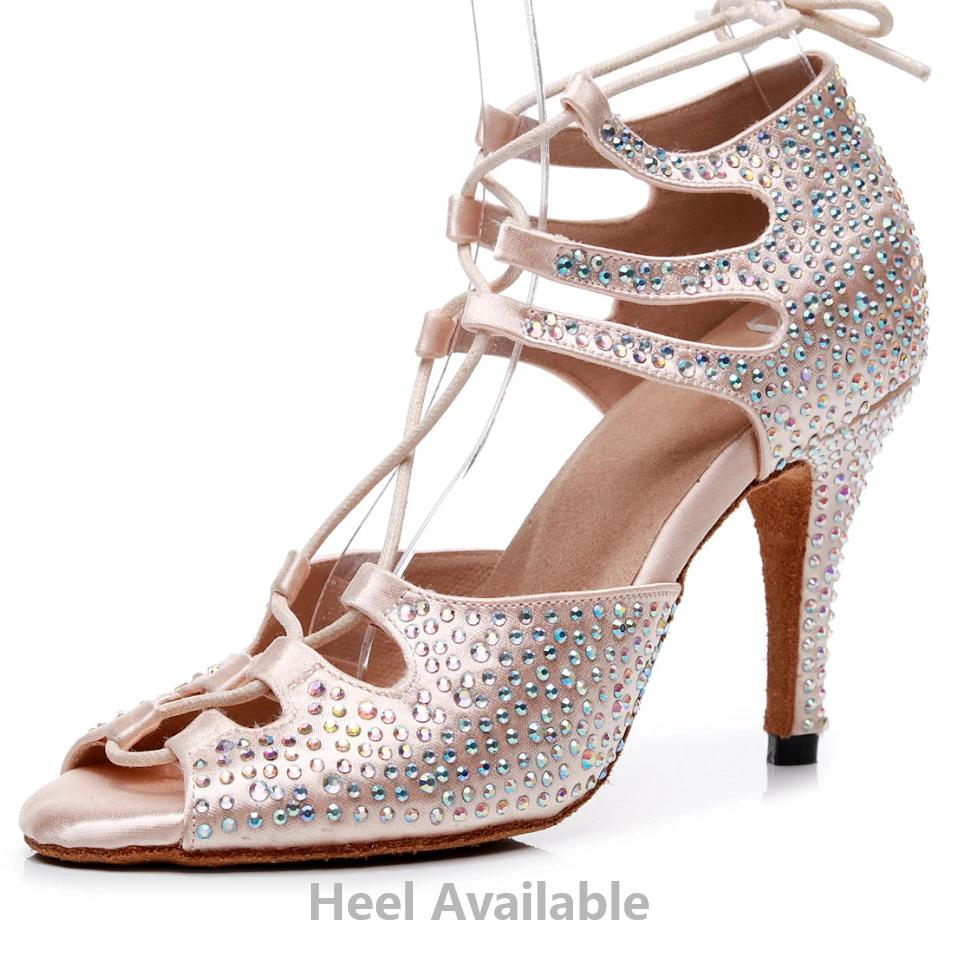 Women Rhinestone Jazz Ballroom Latin Dance Shoes