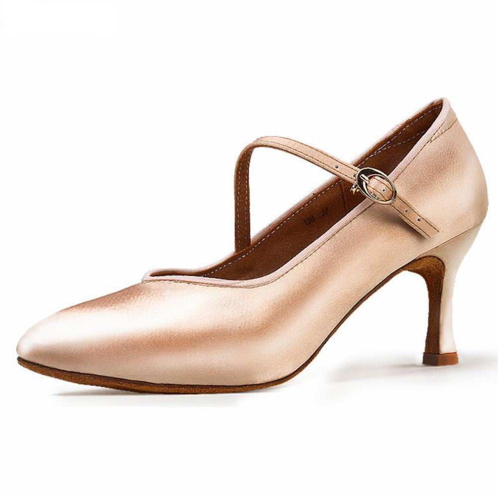Women Tan Satin Ballroom Dance Shoes