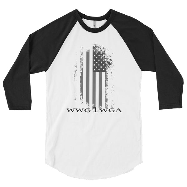 "Patriot News ""WWG1WGA"" black print 3/4 sleeve raglan shirt"