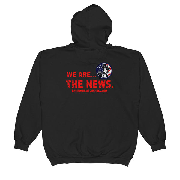 "Unisex Zip Hoodie - Rear ""We are the News"" Logo"