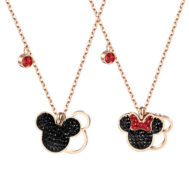 Colar com Pingente Mickey Minnie de aço inoxidavel |  Corrente da Minnie e Mickey - Lover Pets