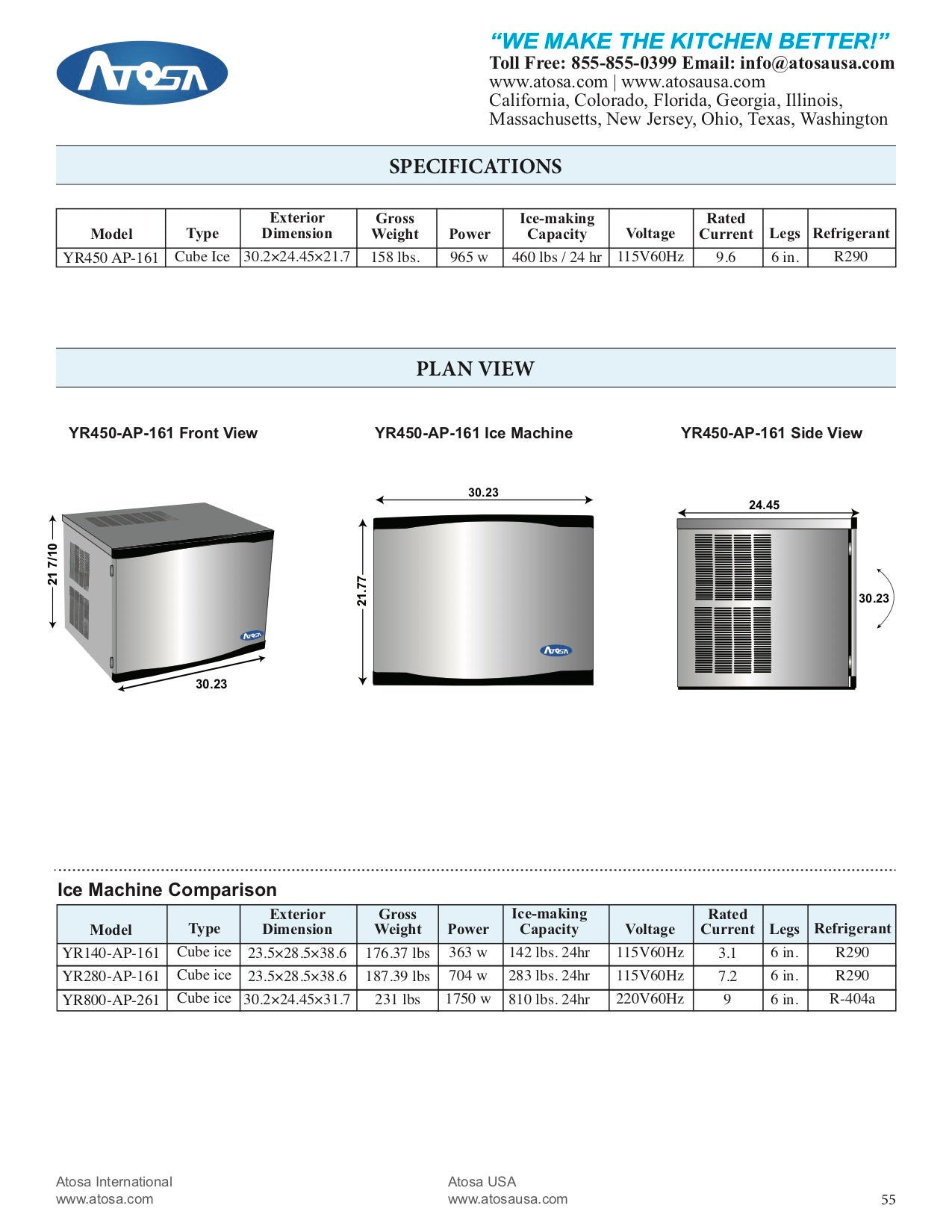 ICE MACHINE YR450-AP-161