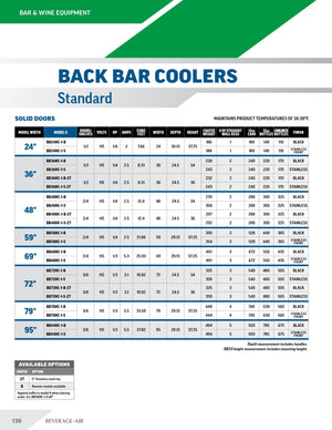 Beverage Air BB36HC-1-G-S-27 Back Bar Refrigerator with 2 inch stainless top