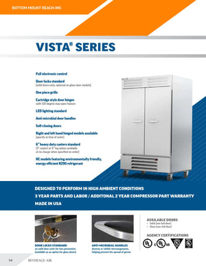 Beverage Air RB72HC-1G Vista Series 75 inch Three Section Solid Door Reach in Refrigerator - 72 Cu. Ft.