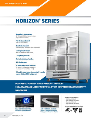 "Beverage Air HBR23HC-1-G  Horizon Series 27"" Stainless Steel Refrigerator Glass Door - Summit Restaurant Supply"