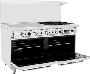 "Atosa ATO-36G4B 60"" Commercial Gas Range w/ 4 Burners, Griddle, (2) 26.5"" Ovens - Summit Restaurant Supply"