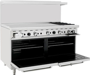 "Atosa ATO-48G2B 60"" Commercial Gas Range w/ 2 Burners, 48"" Griddle, (2) 26.5 Ovens - Summit Restaurant Supply"