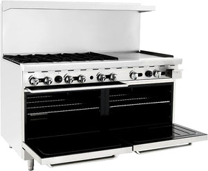 "Atosa ATO-6B24G 60"" Commercial Gas Range w/ 6 Burners, 24"" Griddle, (2) 26.5 Ovens - Summit Restaurant Supply"
