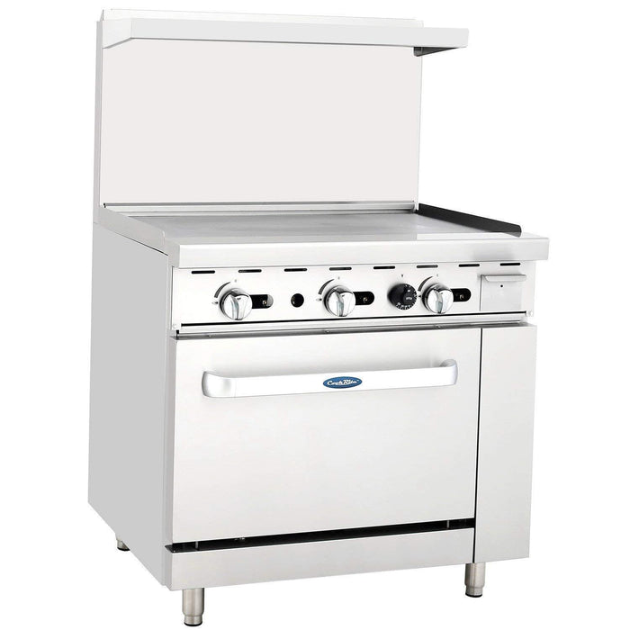 "Atosa ATO-36G Commercial Gas Range with 36"" Griddle, 26.5"" Wide Oven"