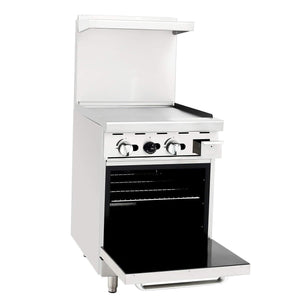 "Atosa ATO-24G 24"" Commercial Gas Range, 24"" Griddle, 20"" Oven - Summit Restaurant Supply"