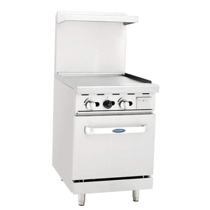 "Atosa ATO-24G 24"" Commercial Gas Range, 24"" Griddle, 20"" Oven"
