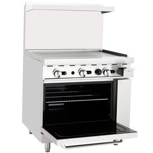 "Atosa ATO-36G Commercial Gas Range with 36"" Griddle, 26.5"" Wide Oven - Summit Restaurant Supply"