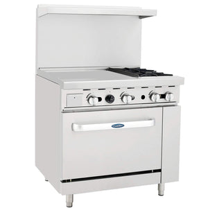 "Atosa ATO-24G2B 36"" Commercial Gas Range with 2 Burners, 24"" Griddle, 26.5"" Oven - Summit Restaurant Supply"