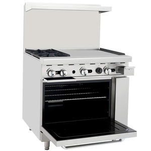 "Atosa ATO-2B24G 36"" Commercial Gas Range w/ 2 Burners, 24"" Griddle, 26.5"" Oven - Summit Restaurant Supply"