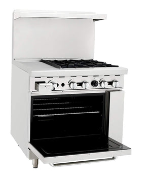 "Atosa ATO-12G4B 36"" Commercial Gas Range w/ 4 Burners, 12"" Griddle, 26.5"" Oven - Summit Restaurant Supply"