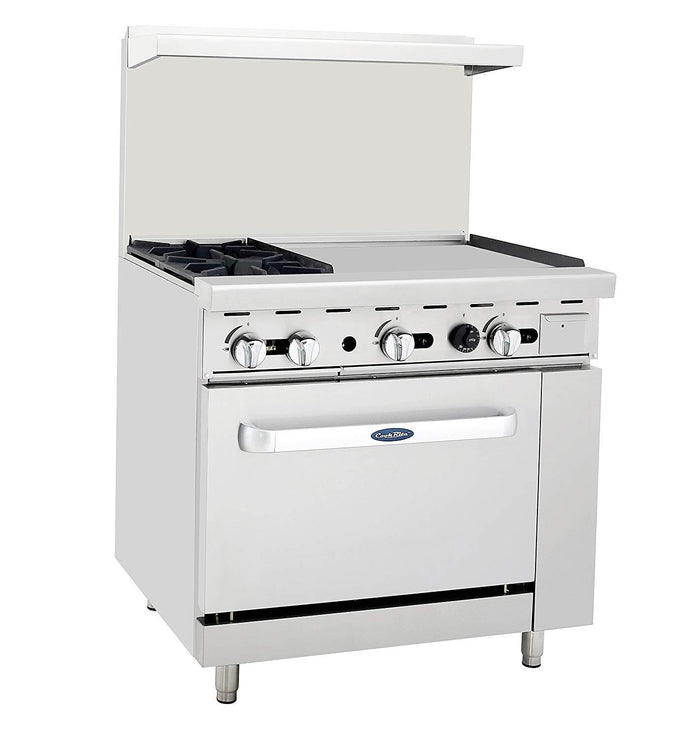 "Atosa ATO-2B24G 36"" Commercial Gas Range w/ 2 Burners, 24"" Griddle, 26.5"" Oven"
