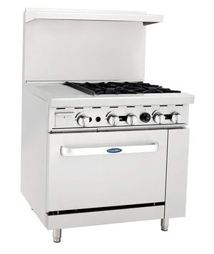 "Atosa ATO-12G4B 36"" Commercial Gas Range w/ 4 Burners, 12"" Griddle, 26.5"" Oven"