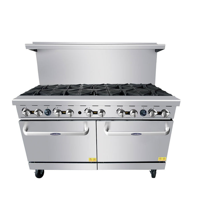 "Atosa ATO-10B 60"" Commercial Gas Range with 10 Open Burners and (2) 26.5"" Ovens"