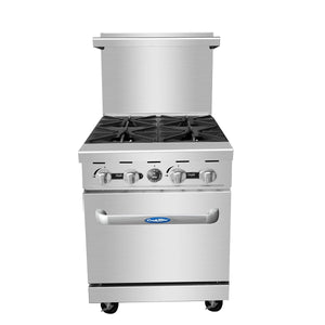 "Atosa ATO-4B 24"" Commercial Gas Range with 4 Burners and 20"" Wide Oven - Summit Restaurant Supply"