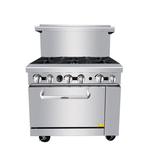 "Atosa ATO-6B 36"" Commercial Gas Range with 6 Burners and 26.5 Oven - Summit Restaurant Supply"