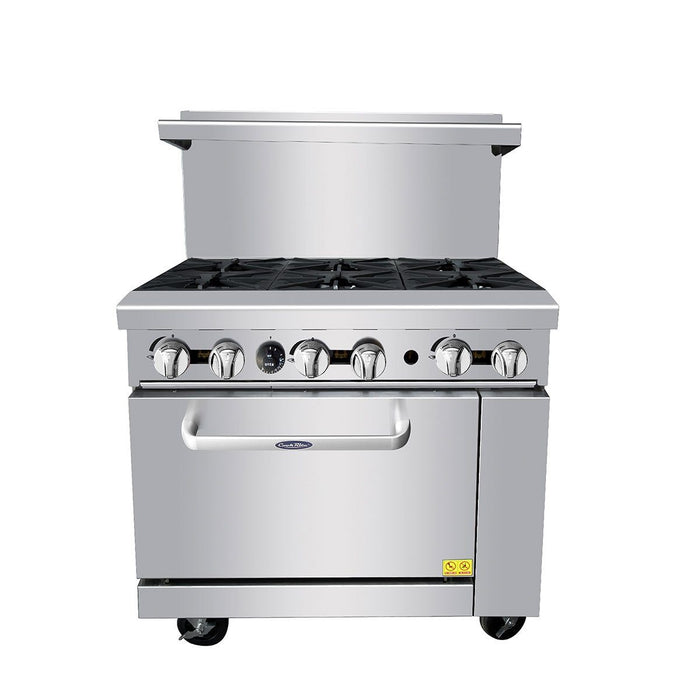 "Atosa ATO-6B 36"" Commercial Gas Range with 6 Burners and 26.5 Oven"