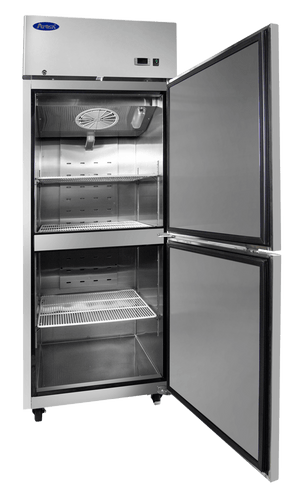 Atosa MBF8010 Upright Refrigerator Top Mount (2) 1/2 Door - Summit Restaurant Supply