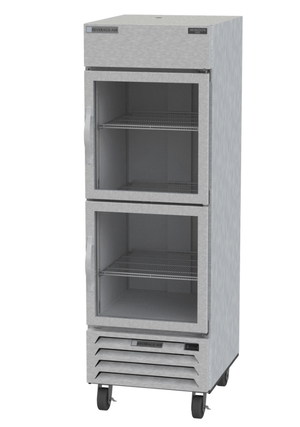 "Beverage Air HBR23HC-1-HG  Horizon Series 27"" Stainless Steel Refrigerator Half Glass Doors - Summit Restaurant Supply"