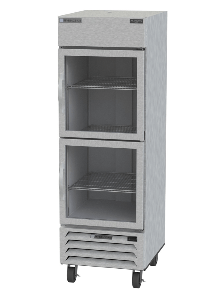 "Beverage Air HBR23HC-1-HG  Horizon Series 27"" Stainless Steel Refrigerator Half Glass Doors"