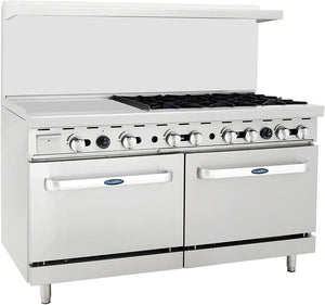 "Atosa ATO-24G6B 60"" Commercial Gas Range w/ 6 Burners, 24"" Griddle, (2) 26.5"" Ovens - Summit Restaurant Supply"
