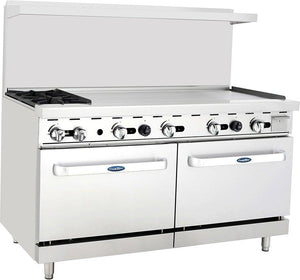 "Atosa ATO-2B48G 60"" Commercial Gas Range w/ 2 Burners, 48"" Griddle, (2) 26.5"" Ovens - Summit Restaurant Supply"