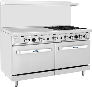 "Atosa ATO-36G4B 60"" Commercial Gas Range w/ 4 Burners, Griddle, (2) 26.5"" Ovens"