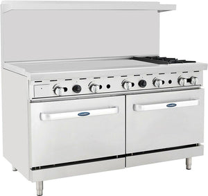 "Atosa ATO-48G2B 60"" Commercial Gas Range w/ 2 Burners, 48"" Griddle, (2) 26.5 Ovens"